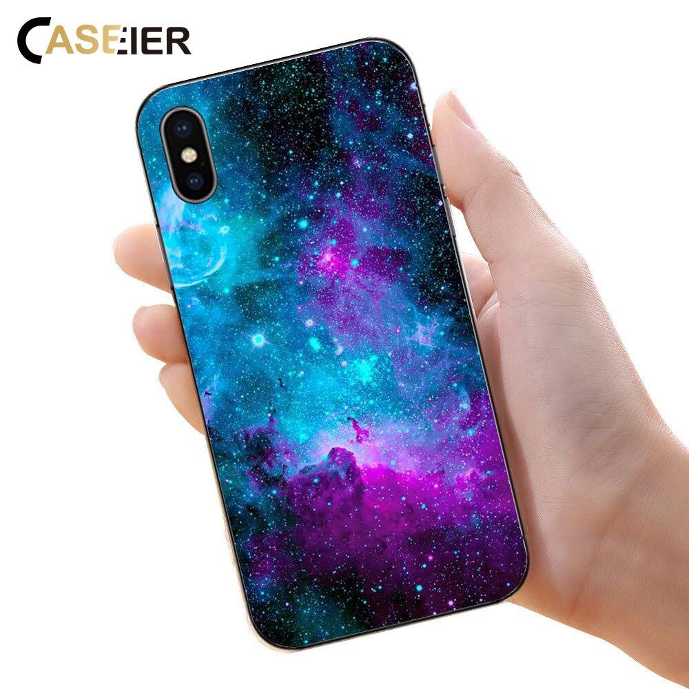 Caseier 2018 Новое пространство чехол на айфон X 5s 6 6s Plus Case мягкий Лев рисунком чехол на самсунг S9 S8 Plus силиконовый чехол роскошный чехол на айфон 6 ... ...