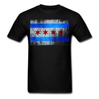 Chicago Flag Men S T Shirt High Quality Custom Printed Tops Hipster Tees T ShirtPersonalized T