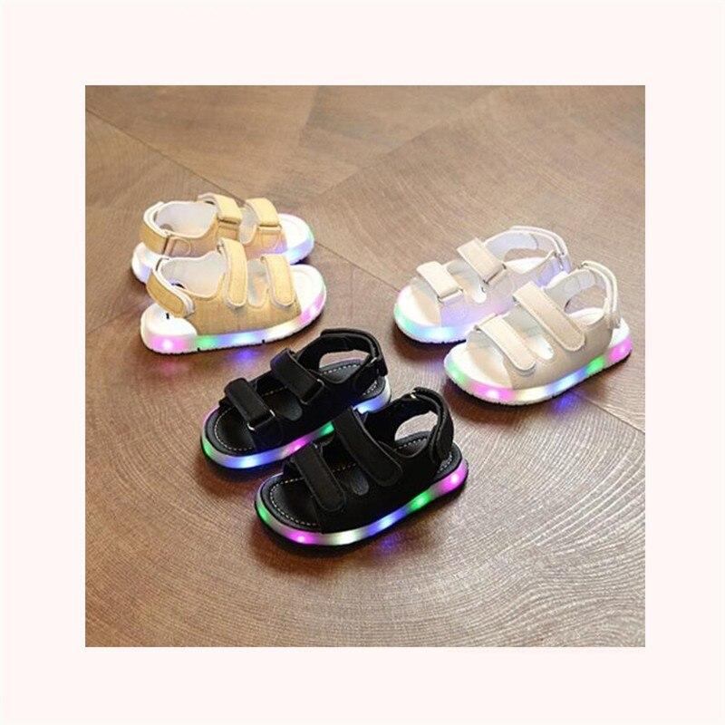 Male female child sandals boys girls sport sandals light led slip-resistant children baby sport shoes kids beach leather sandals