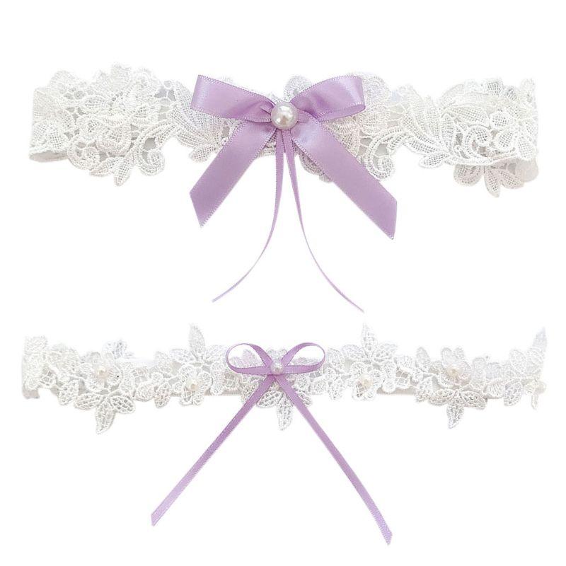 1 Stück/2 Stücke Frauen Braut Oberschenkel Ringe Floral Spitze Stickerei Faux Perle Enbellishment Band Bowknot Hochzeit Bein Strumpfbänder Elastische