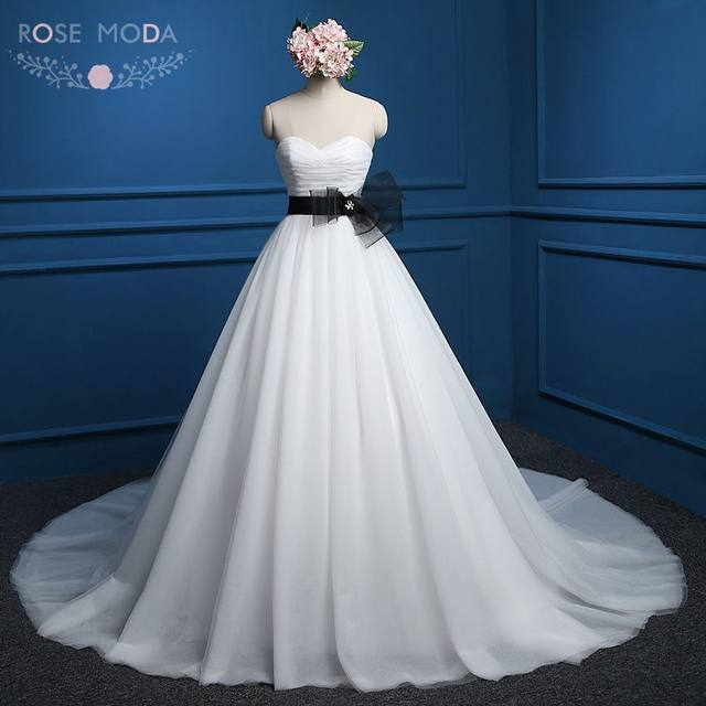 Online Shop Rose Moda White Black Wedding Dress Strapless Princess ...