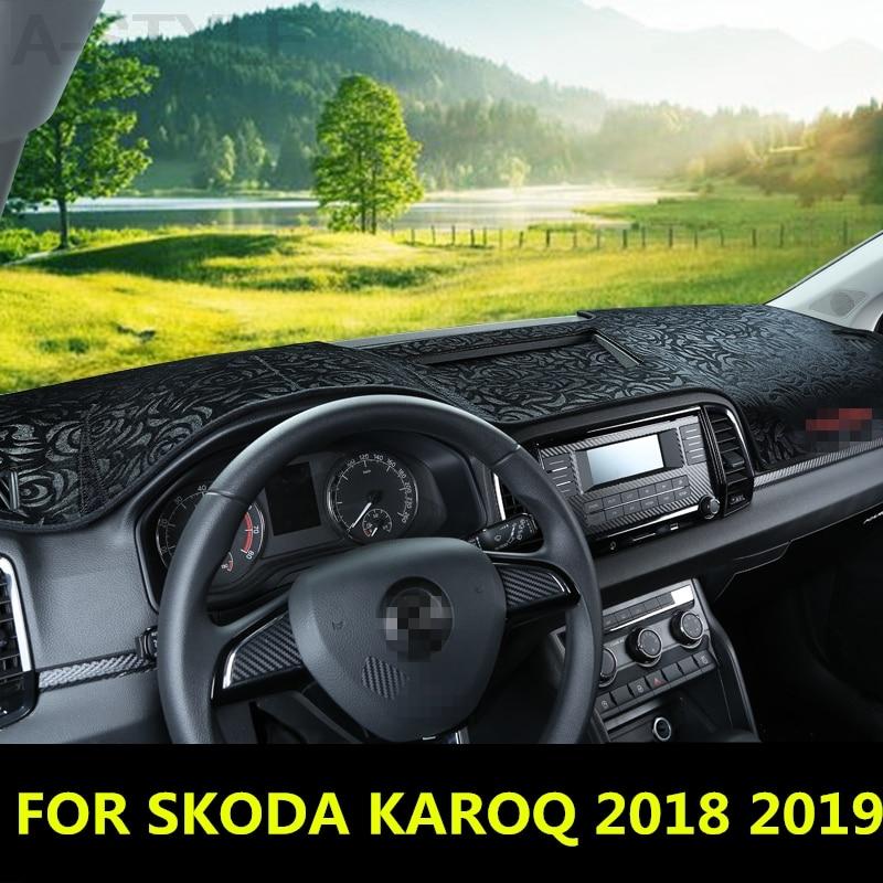 For SKODA KAROQ 2018 2019 Dashboard Cover Mat Pad Sun Shade Avoid Light Dash Board Carpet Protector Auto Accessories