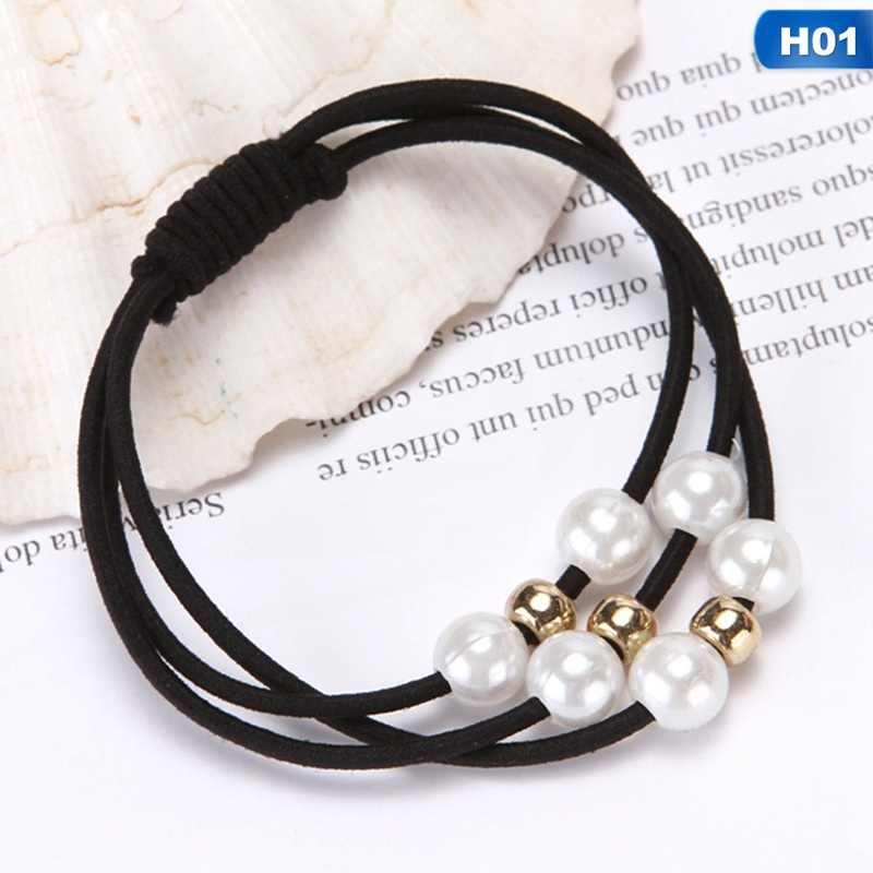 Korean Hair Ring Simple Three Layers Nine Pearl Head Rope Headwear Pearl Hair Jewellery Fine Products Usually Rubber Band
