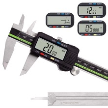 Digital Caliper Stainless Steel LCD Screen 6in 150mm Fractions Conversion Electronic Vernier Caliper Measuring Tool Messschieber