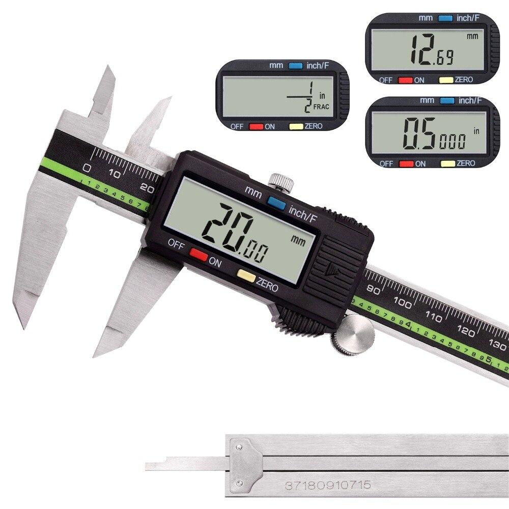Medicion Vernier metal Pie de rey digitales Pantalla LCD Caliper 6
