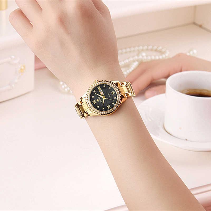 WWOOR חדש זהב נשים צמיד שעונים עמיד למים גבירותיי שעון נירוסטה מקרית שמלת אישה קוורץ שעון נשים Reloj Mujer