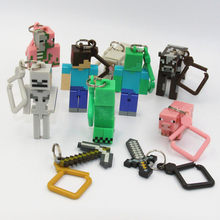 Minecraft Keychain Figures toys Minecraft sword/steve /zombie Key Ring Anime online game Backpack Creeper Key chain(China)