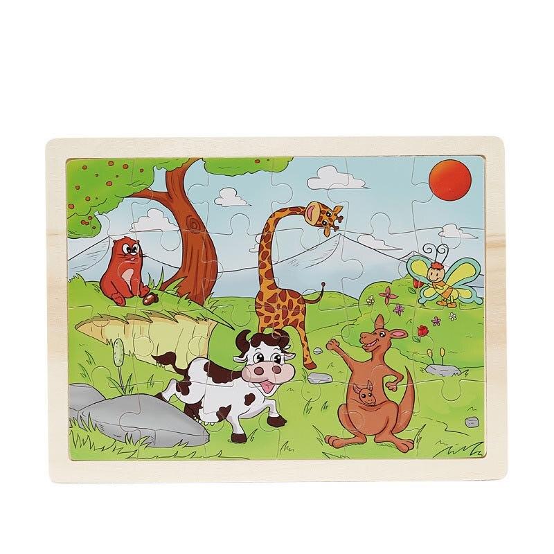 24 шт./компл. дерево мультфильм 3D головоломки Игрушечные лошадки для детей Учебные bm88