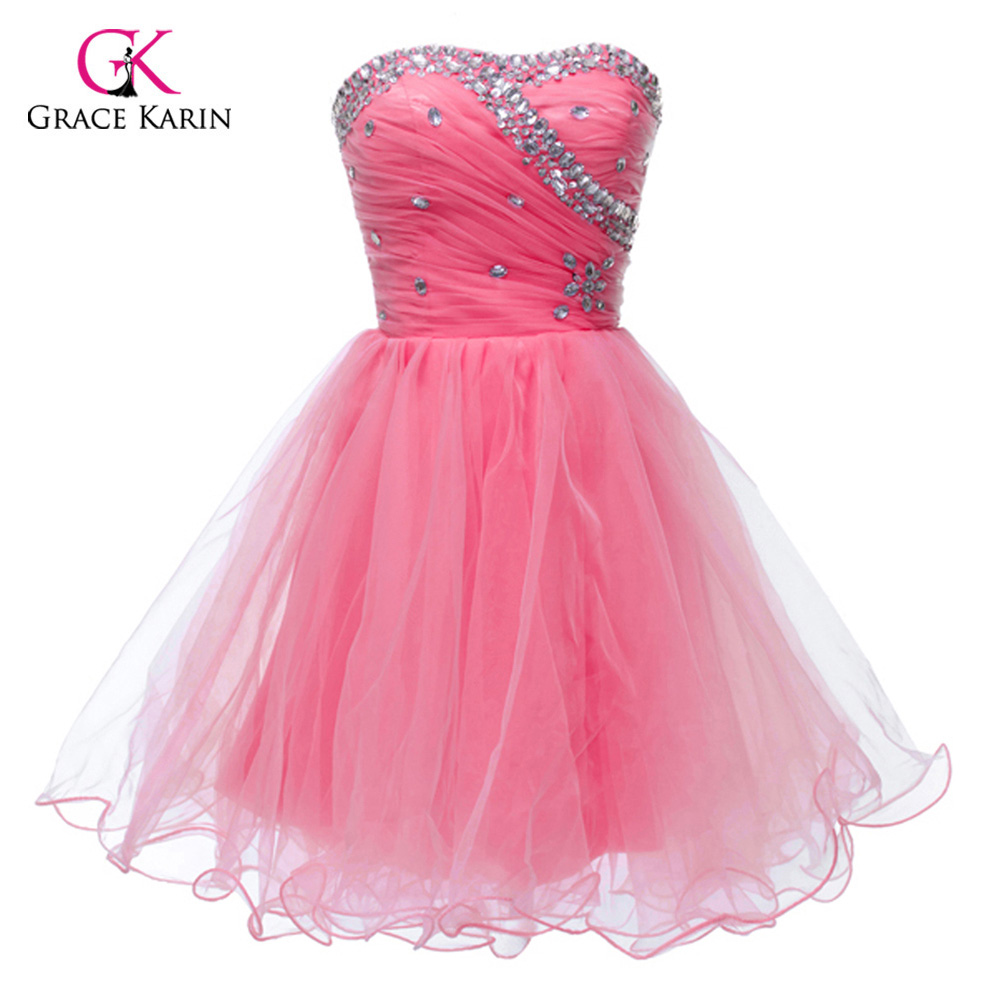 Black White Pink Blue Short Homecoming Dresses Grace Karin Beadings Cheap Sweetheart Prom Gown Girls Mini Party Cocktail Dress