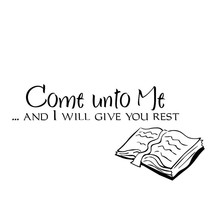 Come Unto Me Living Room Home Decoration Removable Black Self Adhesive Book Wall Sticker(China)