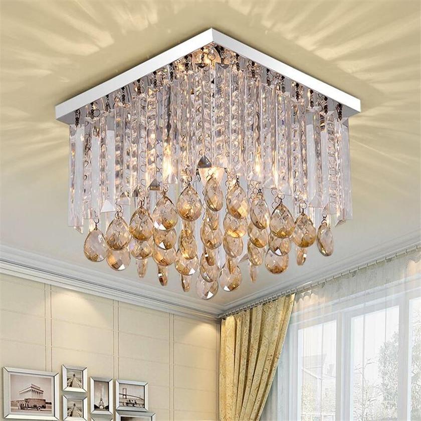 Cognac Crystal Square Ceiling Light Fixtures Abajur Luminaria teto Lustre de plafond for Home Led Light E14 Chandelier Ceiling