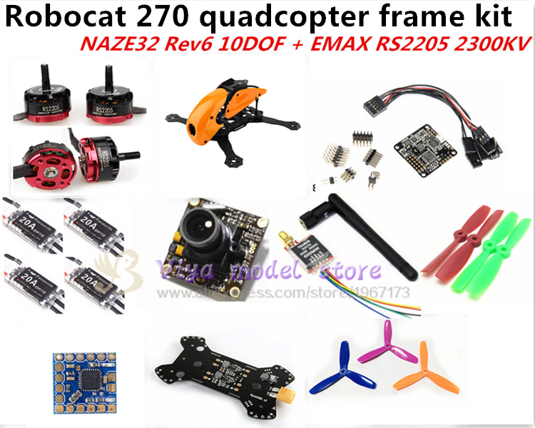 DIY FPV race Robocat 270 V2 mini drone carbon Fiber frame kit NAZE32 REV6 10DOF/CC3D+EMAX RS2205 2300KV+little bee 20A ESC 2-4S diy fpv mini drone qav210 zmr210 race quadcopter full carbon frame kit naze32 emax 2204ii kv2300 motor bl12a esc run with 4s