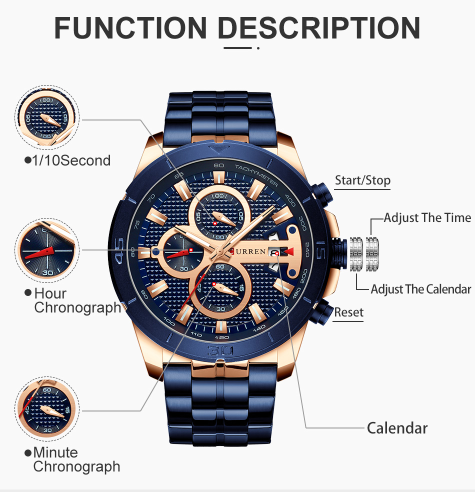 HTB1u4MgUVzqK1RjSZFCq6zbxVXaT CURREN Men Watch Luxury Watch Chronograph