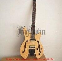 new fan fretted headless electric guitar, semi hollow mahogany body free shipping BJ 89 90