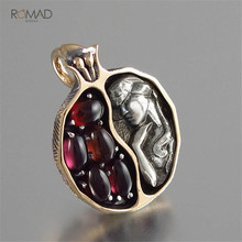 Romad Punk Vintage Necklace For Women Rose Gold Silver Crystal Garnet Long Chain Pendant Choker Necklaces Jewelry Queen W3