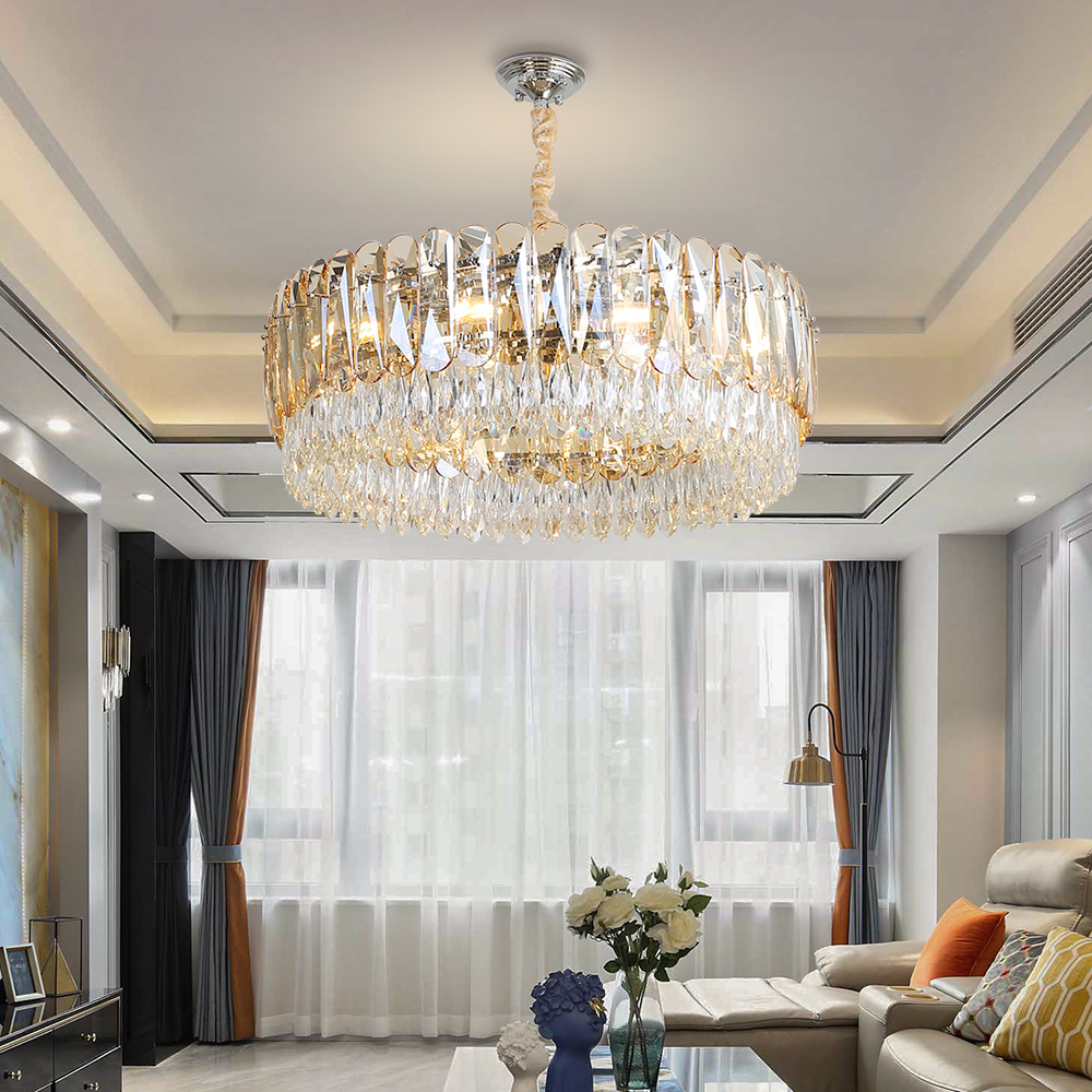Crystal Chandelier Lighting Round LED Light Fixtures Living Room 1