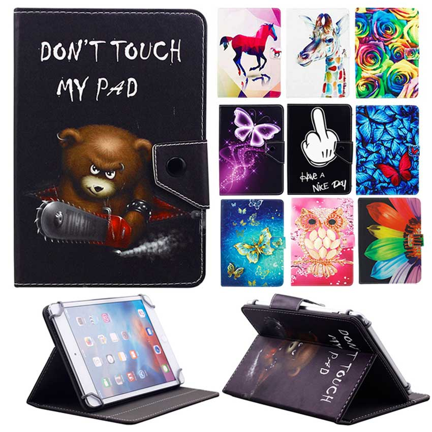 Universal Case For 9.7'' 10'' 10.1'' inch Tablet PC Printed PU Leather Flip Case Stand Cover for iPad Samsung Lenovo Tablets universal 9 7 10 inch tablet pc wallet pu leather case for irbis tw21 10 1 inch table stand cover center flim pen kf553c