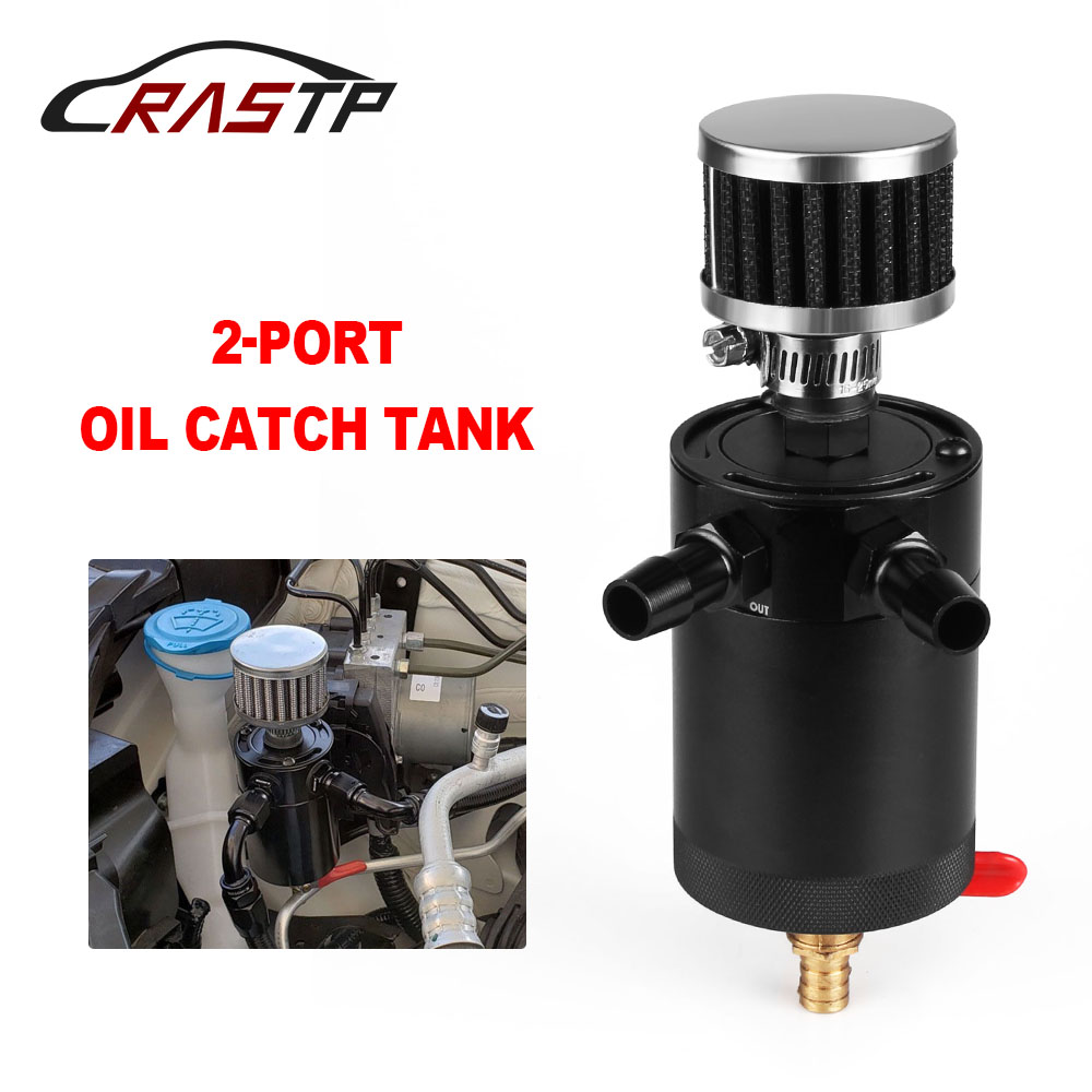 RASTP Universal Billet Aluminum Baffled 2 Port Oil Catch Can Tank With Breather Air Filter Engine ini Oil Separator RS OCC014 in Fuel Tanks from Automobiles Motorcycles