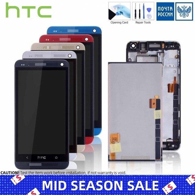 Дисплей для HTC ONE M7 801e LCD в сборе с тачскрином на рамке Оригинал черный красный золотой синий Серебряный