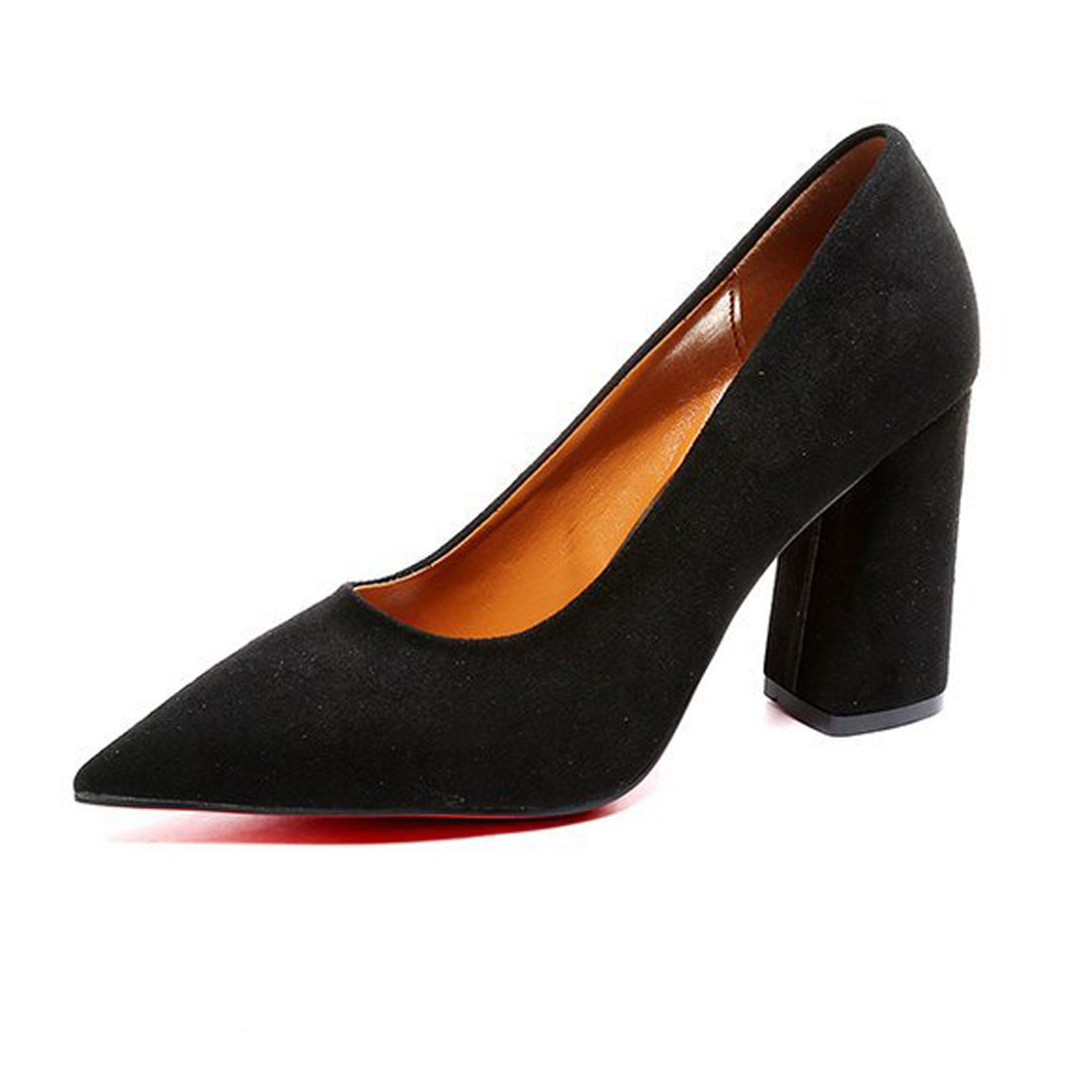Faux Suede Pointed Toe Slip-on High Heels Shoes Women Pumps New Style Ladies Sexy Chunky Block office women shoes high heel black basic slip on pumps sexy women pointed toe faux suede high heels 8cm d orsay for office dress size 4 16 us fsj