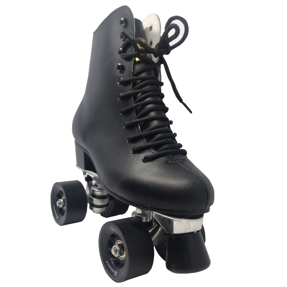 Double Row Roller Skates 4 Wheels Skates Men s Real Leather Boot Aluminum Base Outdoor Brushing