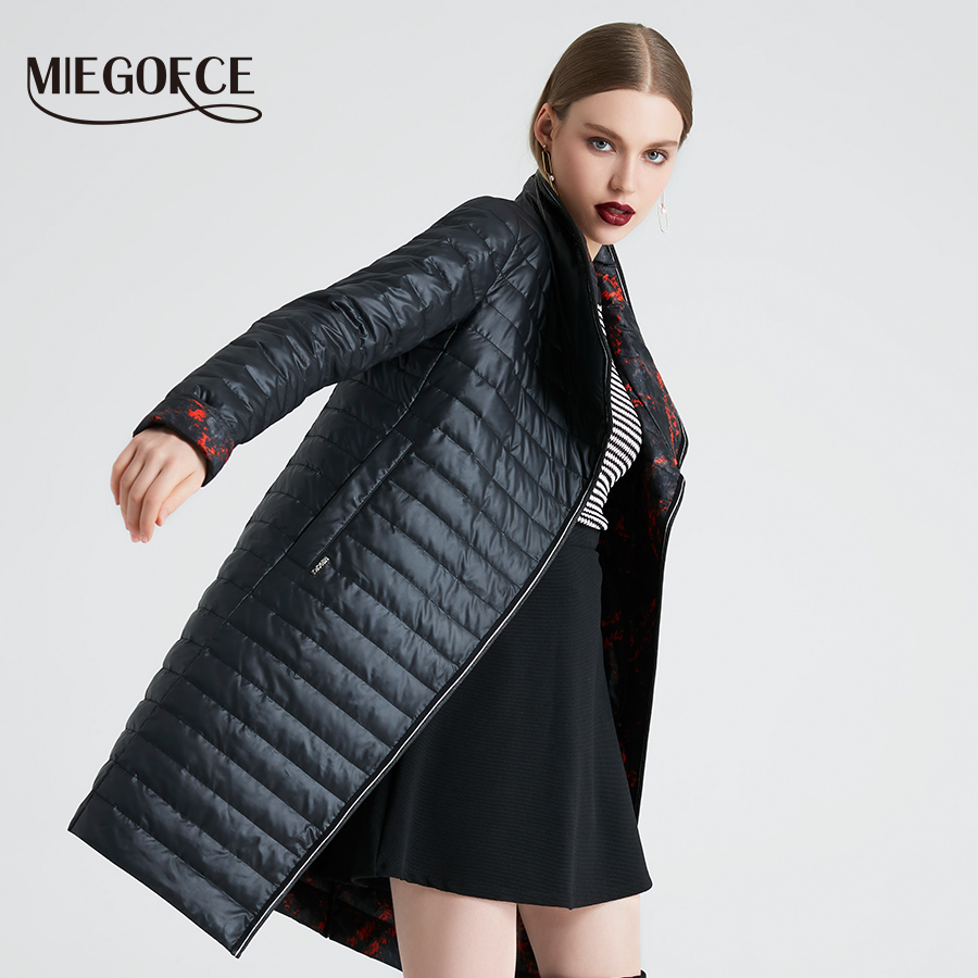 MIEGOFCE 2019 Spring And Autumn Women's Coat high Quality With Scarf   Parka   Simple Quilted Windproof Warm Jacket New Design