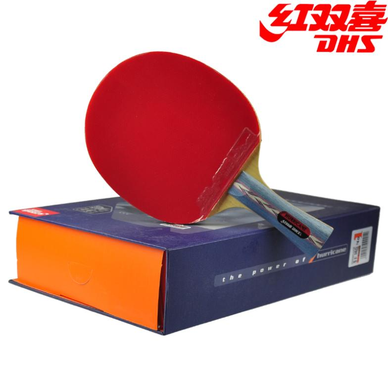 DHS Original Hurricane 3 Table Tennis Racket with Rubber + Balls + Bag Gift Set Ping Pong Bat Pimples In palio tct table tennis blade with 2x cj8000 biotech rubber with sponge h40 42 for a ping pong racket