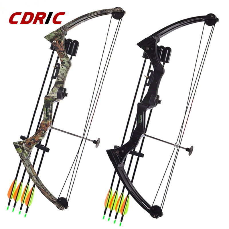 Two color 20 Pounds Aluminium Alloy Bow Hunting Bow Arrow Set Pulley Fish Shooting Bow for