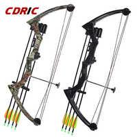 Dos color 20 libras de aluminio lazo de aleación de caza arco y flecha conjunto de polea de pescado tiro arco para niños adultos