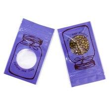 6*10cm Small Purple Flat Zip Lock Plastic Bag Food Snack Coffee Tea  Storage with Clear Window Reusable Zipper