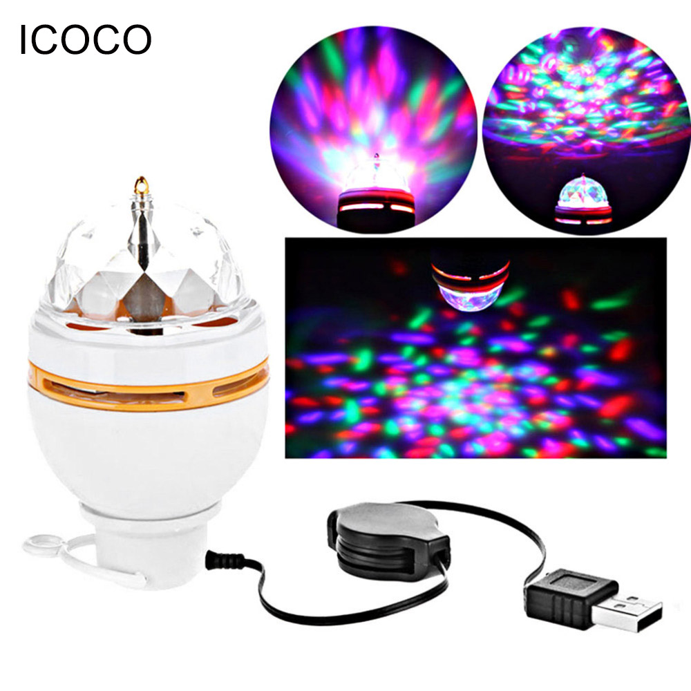 ICOCO RGB LED Lamp Bulb Stage Lighting Magic Ball 5V DJ Party Club White Auto Rotating Night Lights USB Interface For New Year trendy women s sandals with cross straps and platform design