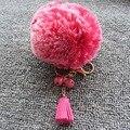 Pelota Pompón de piel Llavero de Nueva Manera de La Alta Calidad 8 cm Imitación Bola de pelo de Conejo Pom Pom Campana Borla de Cuero Llavero Para bolsa