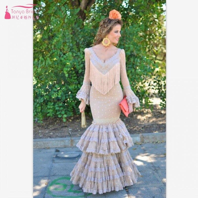 TANYA BRIDAL 2019 Full Sleeves Mermaid   Prom     Dresses   V-Neck Floor-Length Lace Tassel Ruffles Fashion Women Gown SS100