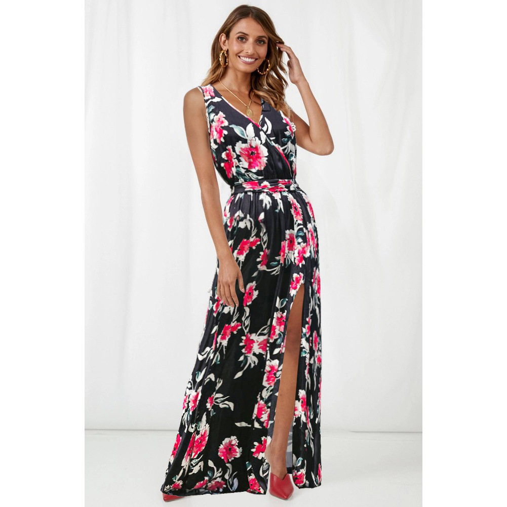 e4d2175748 AOTEMAN Summer Dress Women 2019 Sexy V-Neck Sleeveless Sashes Print Beach  Party Dresses Elegant A-Line Boho Maxi Dress Vestidos