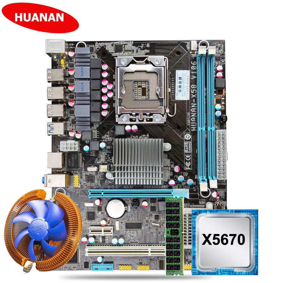Promotional brand motherboard HUANAN ZHI X58 LGA1366 motherboard with CPU Intel Xeon <font><b>X5670</b></font> 2.93GHz with cooler RAM 8G DDR3 RECC image