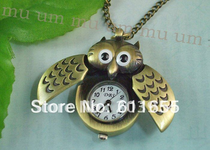 Free shipping hot on sale wholesale 1pcs/lot bronze necklaces Chain Pendant quartz owl Pocket Watch for men Christmas gift 2017