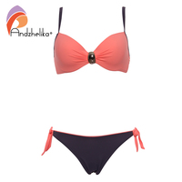 Andzhelika 2017 Sexy Big Soft Cup Bikinis Women Bikini Halter Bathing Suit Solid Swimsuit Summer Party