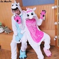 Kigurumi Blue Pink Cosplay Costume Unicorn Pajamas Winter Cartoon Adult Unisex Onesie Hooded Cute Sleepwear Animal