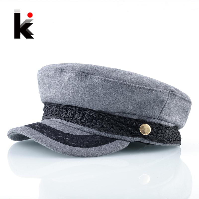 Spring Autumn Newsboy Hats For Women Lace belt button Military Caps Ladies Fashion Streetwear Flat Caps Female Octagonal Boina