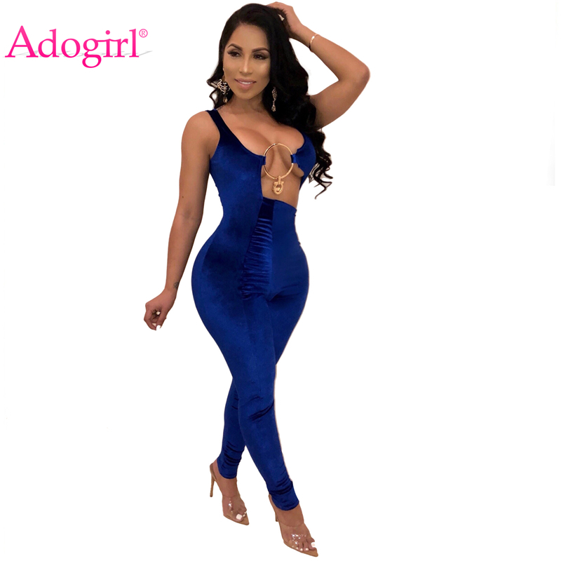 Adogirl Irregular Hollow Out Velvet Jumpsuit Solid Blue Burgundy V Neck Sleeveless Romper Women Sexy Night Club Party Outfits