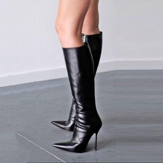 горячий продавать острым носом длинные загрузки элегантная женщина обувь стилет каблук колено высокие сапоги новые мода черные кожаные сапоги горячие продажи