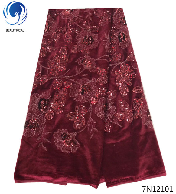 Beautifical african velvet lace fabric with sequins wine red sequin lace fabric 5 yards african french lace best quality 7N121