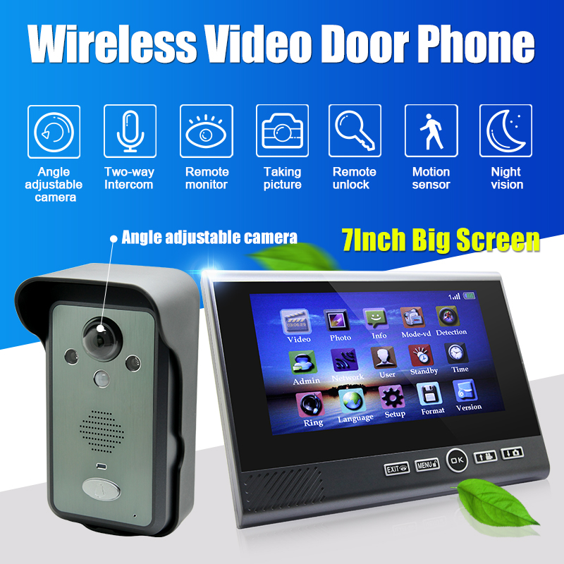 7 Monitor Wireless Video Doorbell Hand Free Intercom IR Door Phone Camera Night Vision Rainproof Home Security Intercom System yobang security free ship 7 video doorbell camera video intercom system rainproof video door camera home security tft monitor