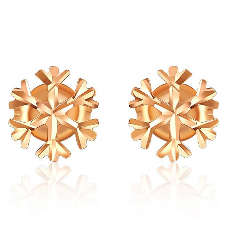 Summer Autumn Style 100% 18K Pure Gold Women Favorite Snowflake Ear Stud Earrings Classic Christmas Valentine Day Love Gift цена 2017