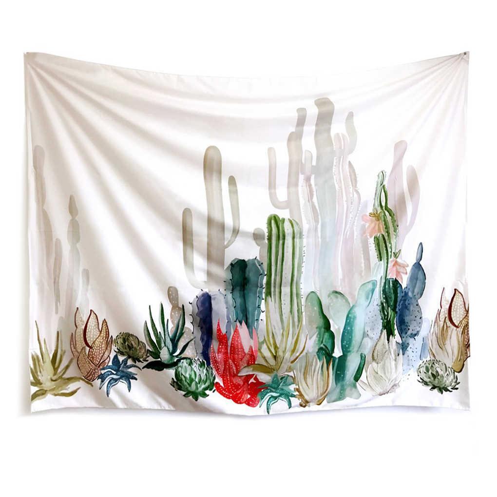 Bohemia tkanina ze wzorem w kaktusy ścienny wiszący dywan artystyczna narzuta na łóżko koc duży ręcznik plażowy jogi