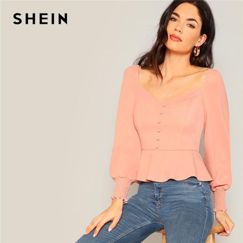 SHEIN Vintage Pink Button Detail Shirred Panel Peplum Top Sweetheart Neck Bishop Sleeve Blouse Women Spring 2019 Elegant Blouses