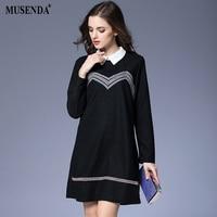 MUSENDA Plus Size Women Elegant Black Striped Embroidery Short Dress 2018 Spring Female Lady Indie Folk