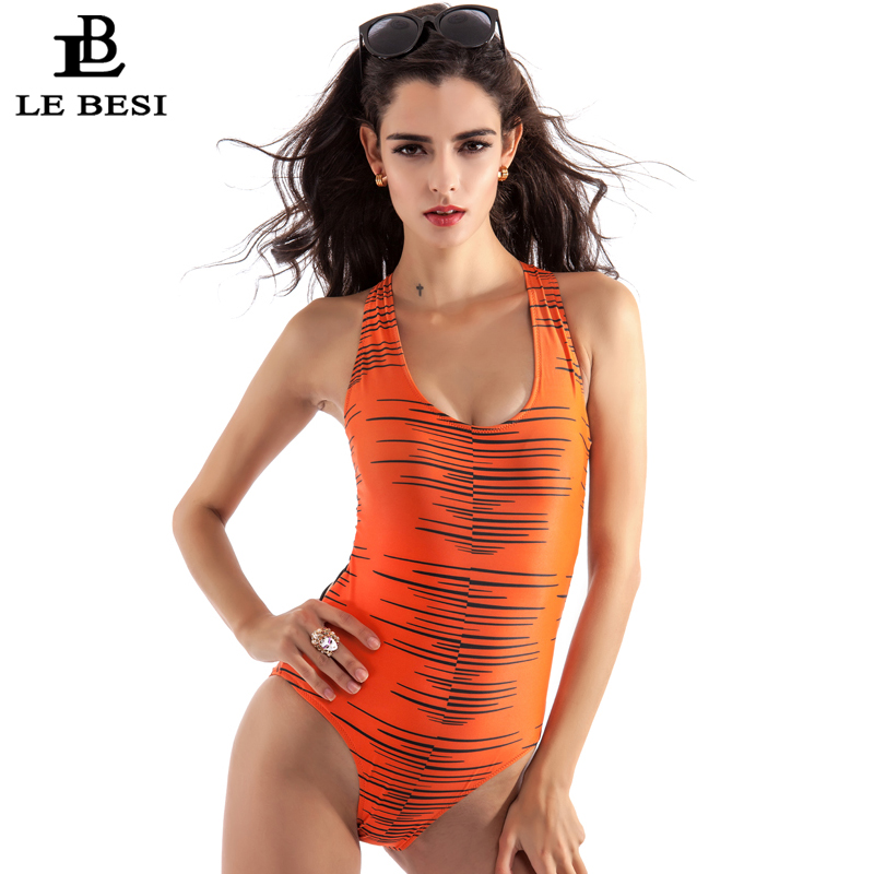 LEBESI 2017 Women One Piece Swimsuit Swimwear Women's Bathing Suit Summer Beach Wear Orange Backless Bandage Monokini Bodysuit sbart women long sleeve rashguard one piece swimsuit shirt brief swimwear vintage bathing suit summer beach wear padded swimming