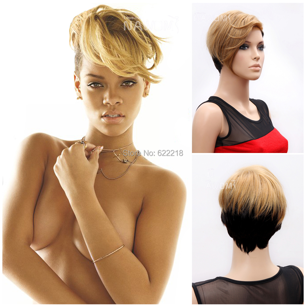 spicy hair style for newlook 2014 fashion rihanna wigs black mixed color 6086