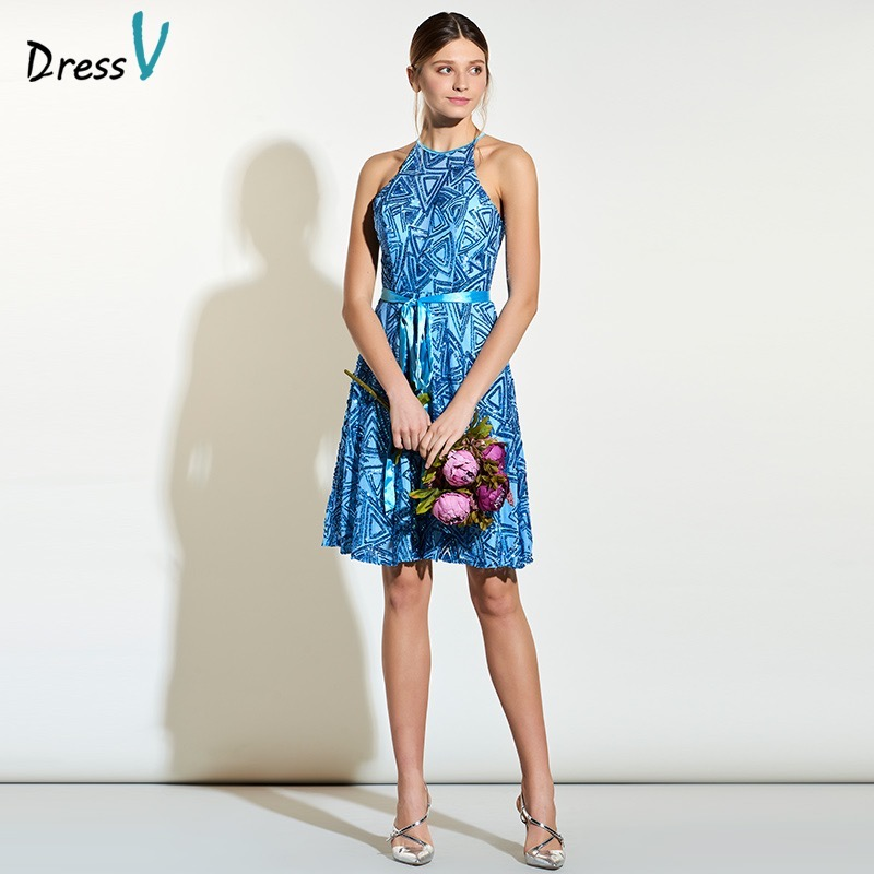 Dressv a line knee length bridesmaid dress halter blue sleeveless backless  wedding party dress sequins short c334bbefc8b1